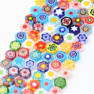 Millefiori Glass Beads - Hexagon 10mm - 10 pieces